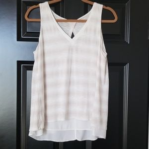 WHBM flowy tan and white tank top.
